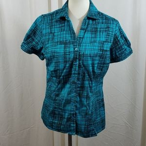 APT 9 Teal & Black Patterened Button Down Top